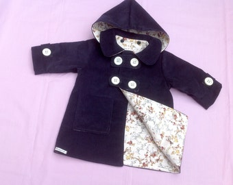 Duffle Coat, Girls Coat, Boys Coat, Baby Coat, Toddler Coat, pram coat, needlecord navy blue, one only age 6 months, handmade