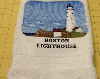Boston Lighthouse Embroidered Heavy Duty White Hand Towel