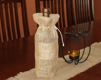 Rustic And Chic Burlap Bottle Bag Wine Bottle Bag