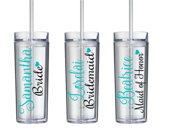 One Single (1) Vinyl Skinny 16 oz Tumbler, Bridesmaid, Maid of Honours, Maid of Honor, Bridesmaid Tumblers, Skinny tumblers