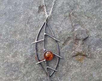 Leaf pendant - sterling silver