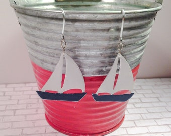 Nautical, sailboat earrings, hand painted, metal, distressed, lightweight