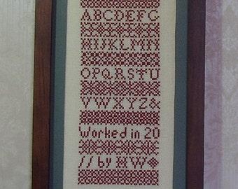 Cross Stitch PDF Pattern Red Band Sampler