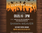 Graduation Party Invitation with Graduation Caps — For Middle School, High School or College Graduates —DIY, print at home! Fun and Quirky!