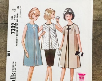 Vintage 60's Maternity Dress or Top and Skirt Sewing Pattern, McCall's 7332, Size 12, Bust 32