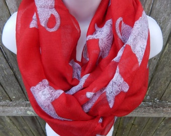 Red and White Cat Infinity Scarf