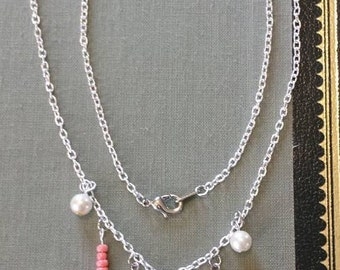 Pink Crystal Charm Necklace