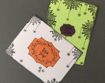 Handmade Greeting Cards-Hlloween Spiders (set of 2) Cards, Notecards