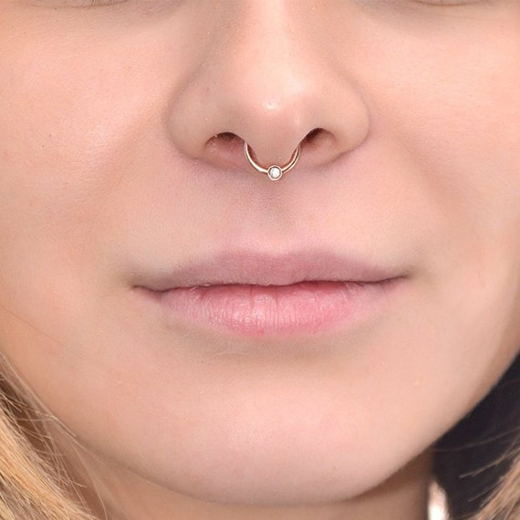 gold septum piercing with 2mm white cz 20g septum ring