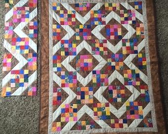 Lap Quilt with Table Topper-Diamond Joy