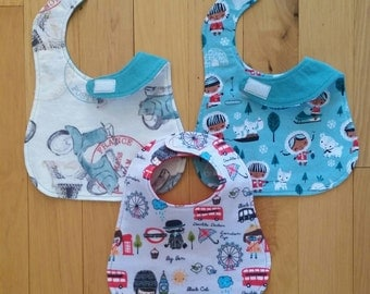 New! Baby Bibs SET OF 3 100% Cotton Flannel with Velcro Closure