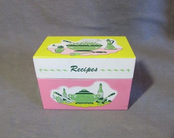 1950s Recipe Box Pink, Yellow and White on Outside Baby Blue Inside | Ohio Art Company