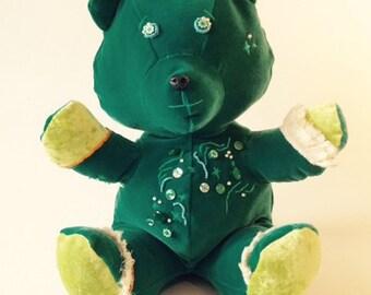 BLEEN Bear - Handmade Plush - Green velvet - Beaded and fringed