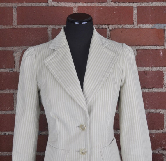 Vintage 90s Women's Faconnable Cream Corduroy Blazer Jacket Sz 2