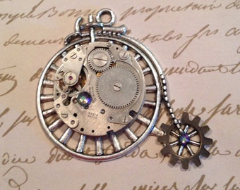 Large Bicycle Steampunk Pendant with Vintage Watch Movement