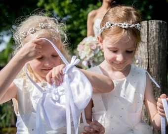 Communion, Flower Girl Headband, Headwrap with Pearl Flowers and Glass beads on silk ribbons.