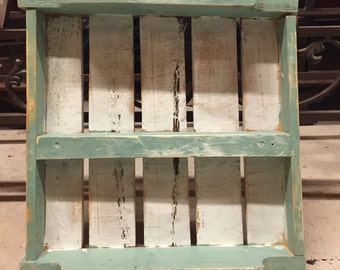 Antiqued White and Mint Pallet Shelf