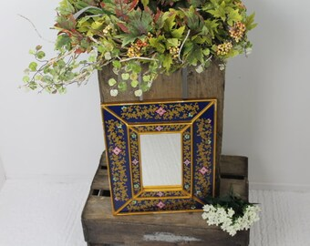 Rectangular Floral 1970s Mirror/ Vintage Mirror/ Floral design Mirror/Home decor Mirror  (001)