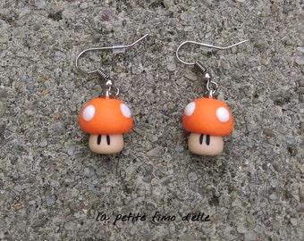 Mushroom earrings orange fimo.