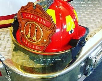 Firefighter Helmet Shield, hand crafted custom Fire Helmet Front