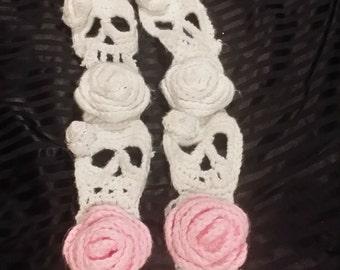 Skull and Rose Crochet Scarf