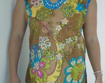 Sleeveless Multi Colored Indian Kurta Tunic Tops with Free Set of Bangles