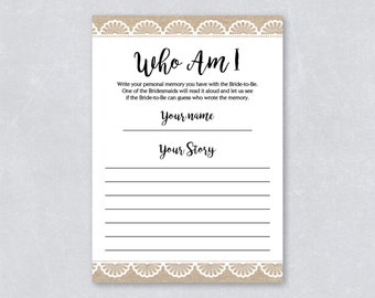 Rustic bridal shower game / Who am I game? / Rustic burlap and lace /  Wedding Shower Game / DIY printable / INSTANT DOWNLOAD