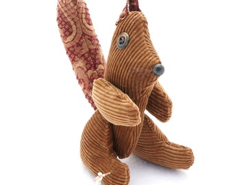 Stuffed Squirrel Plush Animal - Posable Plush - Funny Gift Handmade from Brown Corduruy and Upcycled Recycled  Repurposed Upholstery Fabric