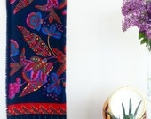 Gypsy FLORAL 60's Scarves & Wraps, Bohemian Vintage Folk Accessories~ Navy Pink Red Blue Paisley Fabric~ Traditional European Boho scarf