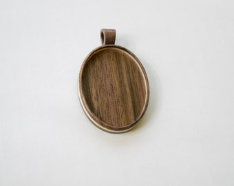 Pendant tray setting fine finished NO laser - Light Walnut and Maple - Wooden Bail - 30 x 40 mm - (A2-WMp)