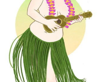 "Curvy Pinup - 8x10 art print / fat, bbw, body positive, grass skirt babe playing ukelele ""Mahalo"""