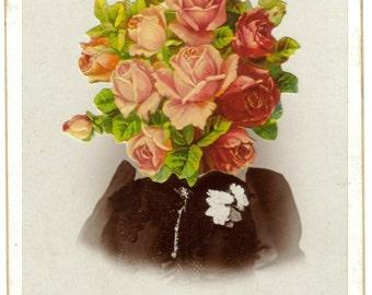 Original Art, Altered Photo, Collage Portrait, Sepia Tone Picture Collage, Sepia Photograph, Rose Bouquet, Summer Flower Face OOAK Paper Art