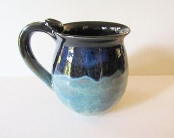 Deep Black, Vivid Blue and Turquoise Mug, 16 oz, Ready to Ship, Coffee Cup
