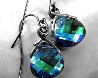 SALE! Blue Green Crystal Teardrop Earrings, Swarovski Crystal Earrings, Blue Green Crystal Earrings, Small Blue Green Crystal Earrings 6012