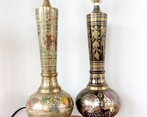 Etched Brass Lamps. India Brass Table Lamps, Vintage Pair. Gold Metallic Bohemian Home Decor.