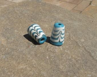 Handmade Lamp work bead set Cone Cone sets End caps Findings Handmade findings Turquoise Ivory Artisan Beads Generationslampwork SRA