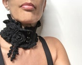 Crocheted Black Neckwarmer with Flowers and Glass Pearls - Lux Cowl Choker - BLACK GARDEN