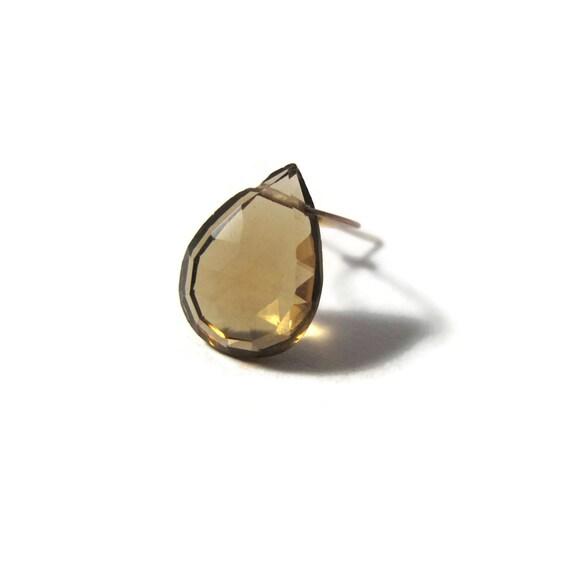 One Whiskey Quartz Teardrop Briolette Bead, 13mm x 9mm, Pear Shaped Gemstone, Slightly Imperfect Hole (L-Wq2b)