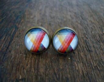 color prism stud earrings | artist, rainbow, spectrum, posts, brass, bright, colorful, multicolor, art teacher