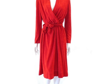 Vintage 70s velour plunging wrap dress// Red Midi Dress// Red Disco Dress //  Red Belted Dress// 123