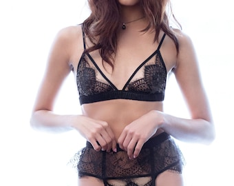 Giselle bralette- vintage-inspired lace triangle bra in black ivory silk satin charmeuse, wirefree wireless bralet, lingerie bralette bralet