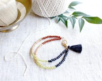 Black Tassel Bracelet, Bohemian Bracelet, Beaded Friendship Bracelet, Boho Jewelry, Tassel Charm, Tassel Jewelry, Seed Bead Bracelet