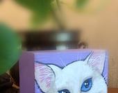 White Shorthair Cat Painting on Repurposed Wood Block