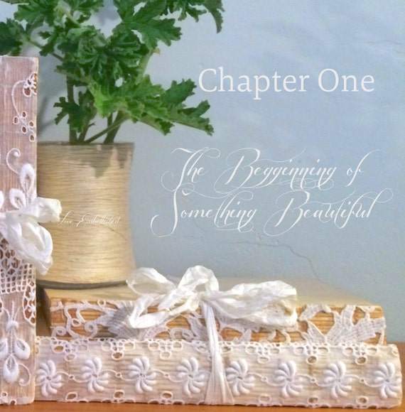 Antique Lace Trim Book Bundle Vintage Early Mid Century Distressed Book Stack Shabby Chic Decor Book Themed Wedding Set No.2 GreenCraft Mag