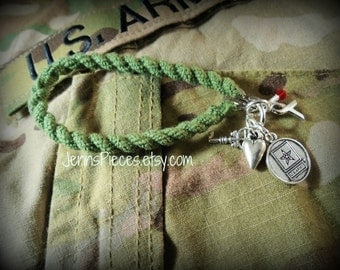 BRACELET: US Army boot band blouser charm bracelet SSG149 military Soldier marines navy Air force national guard usmc usaf usn sailor