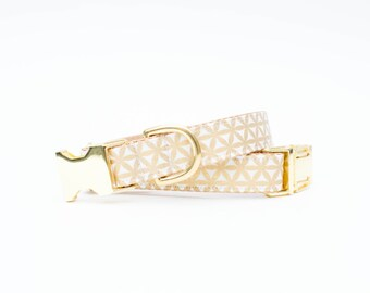 Metallic Gold and Winter White Trellis Dog Collar