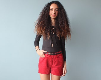 SALE red suede shorts / suede shorts / 1990s / small