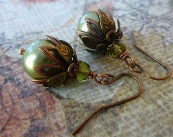 Dainty Pearl Earrings Beaded Green Pearl Earrings with Swarovski Crystal Pearls and Antique Brass
