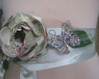 Sage Green Ribbon Sash Flower Hand painted Butterfly