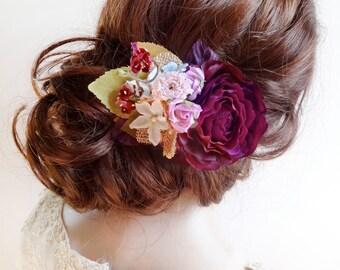 floral headpiece, eggplant wedding hairpiece, bridal headpiece, mauve hair flower, vintage hair clips, floral hair clip, aubergine wedding